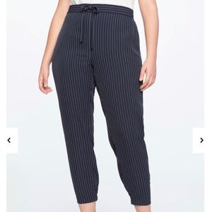 Eloquii Navy Pinstripe Pull-on Slim Trousers Sz 18